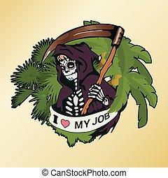 tシャツ, illustration., 特徴, デザイン, muerte, メキシコ人, オリジナル