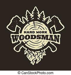 tシャツ, lumberjack, 紋章, design.