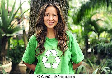 t恤衫, 再循環, 穿, 森林, 環境, 激進主義分子