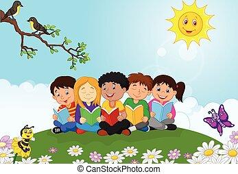 t , ευτυχισμένος , παιδιά , γελοιογραφία , κάθονται