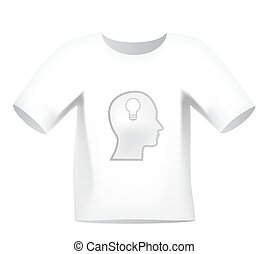 "*t* חולצה, ""head, אור, bulb"", overprint, לבן"