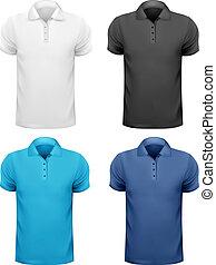 t-, 色, 男性, イラスト, shirts., ベクトル, 黒, デザイン, 白, template.