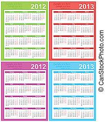 t, 2012, kalender, 2013, rum