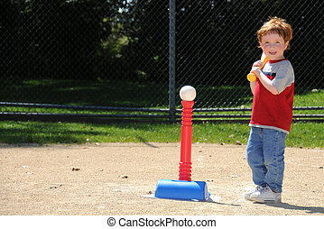 T-ball player up to bat