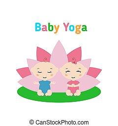 t, bambino sedendo, yoga