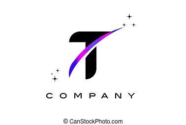 T Black Letter Logo Design with Purple Magenta Swoosh