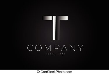 T black white silver letter logo design icon alphabet 3d