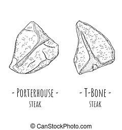 T-bone steak and Porterhouse steak. Vector cartoon ...