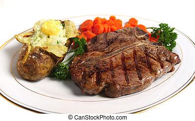 T-bone steak horizontal from above - A porterhouse (or T-...