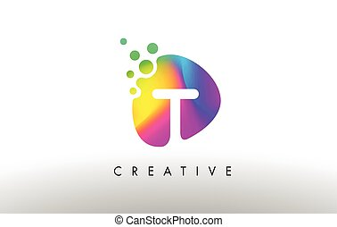 T Colorful Logo Design Shape. Purple Abstract Shape Letter Icon.