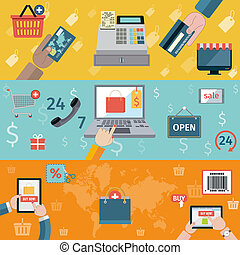 E-commerce banners flat set of online shopping digital marketing isolated vector illustration