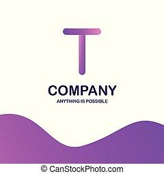 T company logo design with purple theme vector