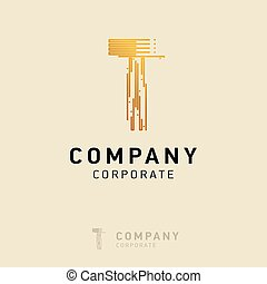 T company logo design with visiting card vector