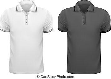t-, férfiak, ábra, shirts., vektor, fekete, tervezés, fehér, template.