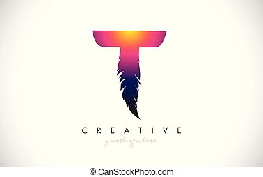 T Feather Letter Logo Icon Design With Feather Feathers Creative Look Vector Illustration