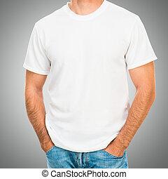 t, fehér, ing, ember, fiatal
