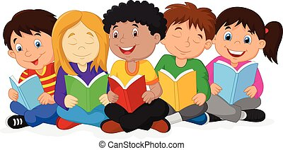 t, felice, bambini, cartone animato, seduta