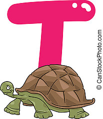T for turtle - cartoon illustration of T letter for turtle