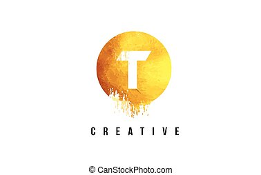 T Gold Letter Logo Design with Round Circular Golden Texture.