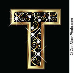 T gold letter with swirly ornaments vector