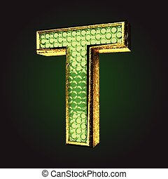 t green letter with gold