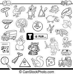 Black and White Cartoon Illustration of Finding Picture Starting with Letter T Educational Game Workbook for Children Coloring Book