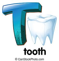 t, letra, dente
