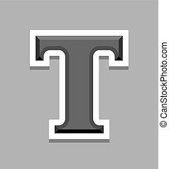 T Letter 3d Uppercase capital steel font. Vector illustration