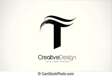 T Letter Design Brush Paint Stroke. Letter Logo with Black...