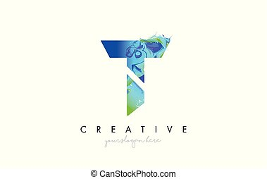 T Letter Icon Design Logo With Creative Artistic Ink Painting Flow in Blue Green Colors