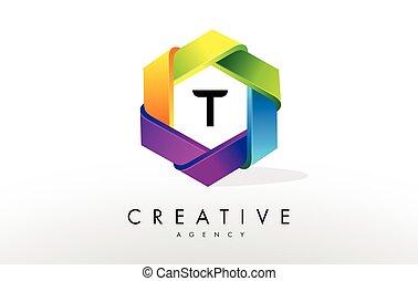 T Letter Logo. Corporate Hexagon Design