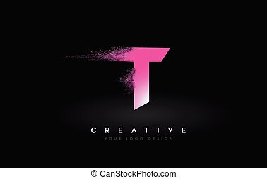 T Letter Logo with Dispersion Effect and Purple Pink Powder ...