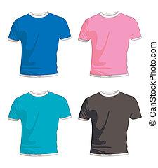 t, mens, chemise, coloré
