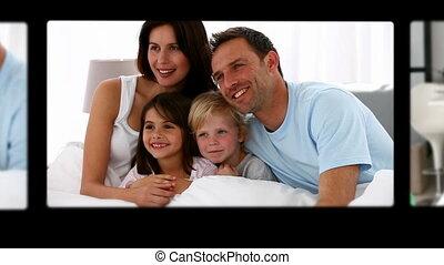 t, montage, mignon, dépenser, famille