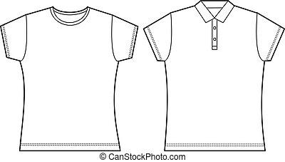 t, plantilla, camisa
