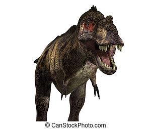 A Tyrannosaurus Rex dinosaur, with a menacing mouth.