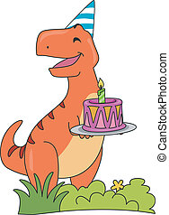 T-Rex Birthday Cake - Illustration Featuring a Happy T-Rex...