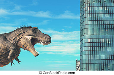 T rex building - T rex in front of buildings . This is a 3d ...