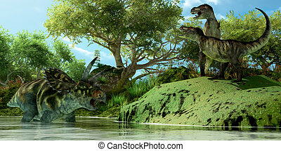 T-Rex Defiance - Two Tyrannosaurus dinosaurs roar in...