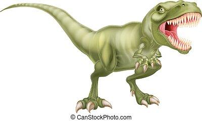 An illustration of a fierce tyrannosaurs rex dinosaur roaring