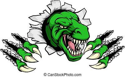 T Rex Dinosaur Clawing Hole in Background - Cartoon T Rex...