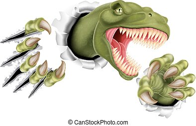 A T Rex Tyrannosaurus Rex dinosaur scratching, ripping and tearing through the wall with its claws