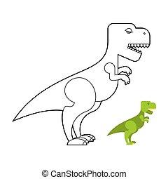 T-rex dinosaur coloring book. Scary big Tyrannosaurus. Prehistoric reptile with large teeth. Big Green Jurassic predator