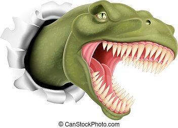T Rex dinosaur ripping through a wall