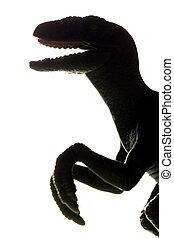 t-rex, dinosaurus, speelbal, silhouette, in rug, light., tyrannosaurus rex