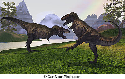 T-REX FIGHT - Two Tyrannosaurus Rex dinosaurs fight for the...