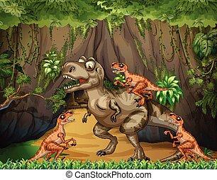 T-Rex fighting raptors in forest
