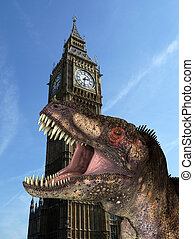 T Rex In London 2 - A humorous hoax image of a Tyrannosaurus...