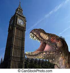 A humorous hoax image of a Tyrannosaurus Rex in a menacing pose, in front of the Houses Of Parliament In London.