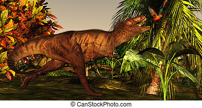 T-Rex Jungle - A Tyrannosaurus Rex runs after a beautiful...